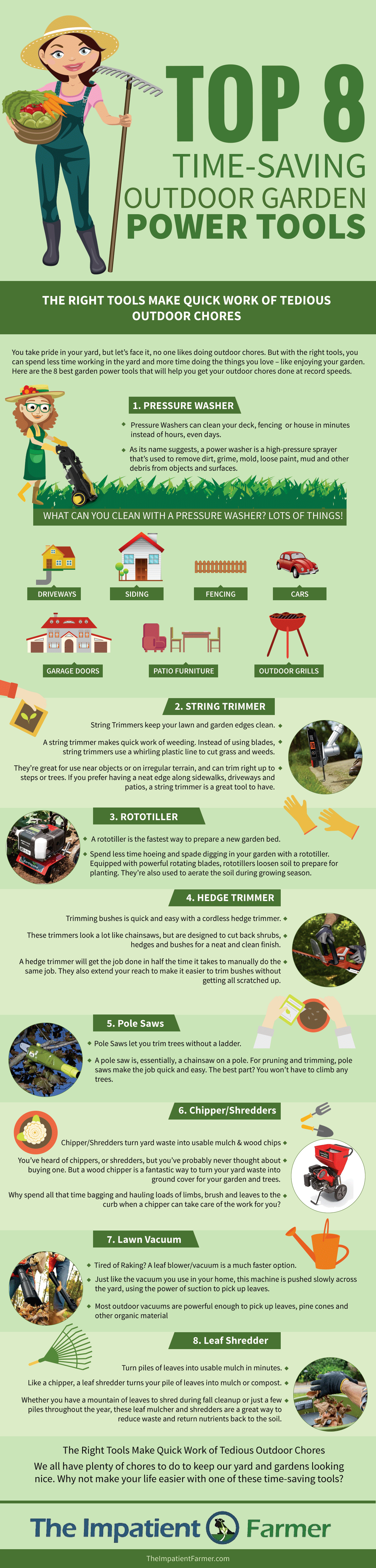 Infographic of our 8 favorite garden power tools