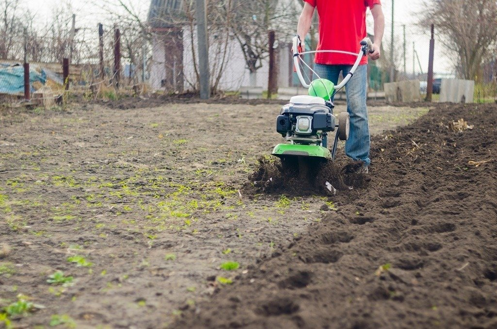 man in red shirt tilling the soil before planting