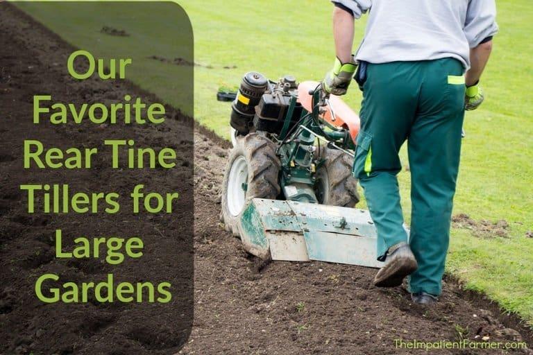 Our favorite rear tine tillers - image of man tilling a large garden