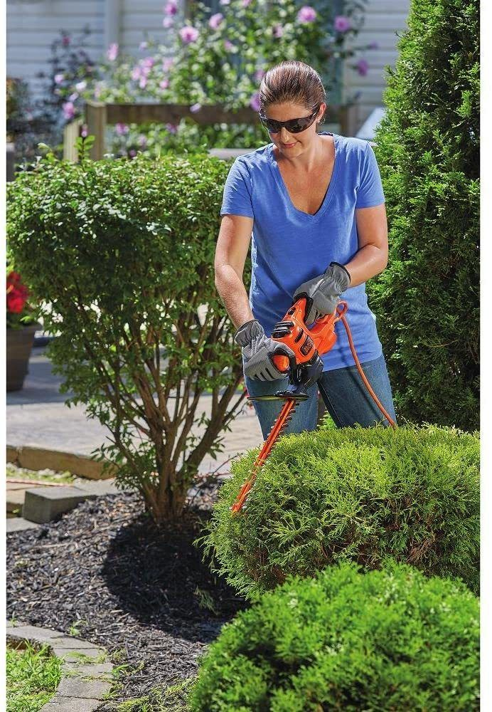 Black and Decker 3 amp hedge trimmer cleaning up the small bushes in the garden