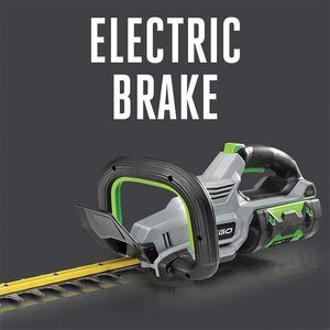 closeup of the electric brake on the Ego trimmer