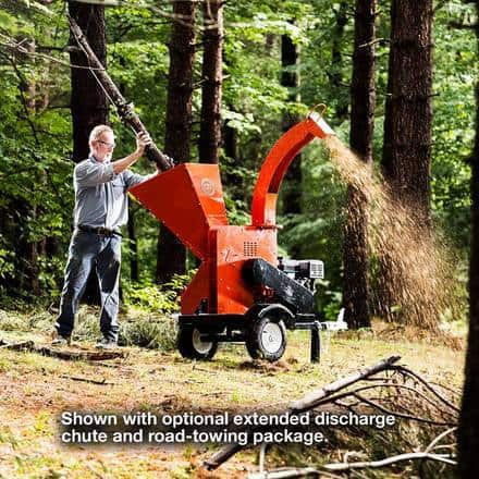Dr Power's Wood Chipper shown with the extended discharge shute and road-towing package
