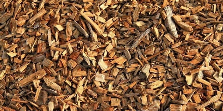 closeup of wood chips