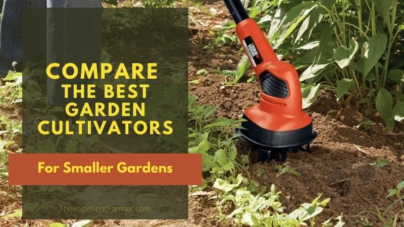Closeup of Cordless cultivator in the soil of a vegetable garden with title overlay text