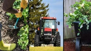 3 different types of small farm equipment - hoe for vegetable beds, mini tractor and garden cart
