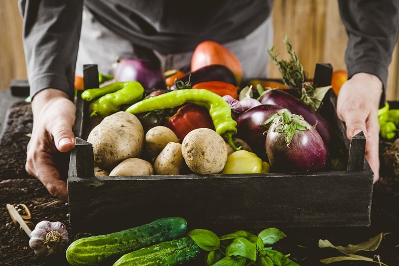 farmers outstretch arms holding freshly picked vegetables