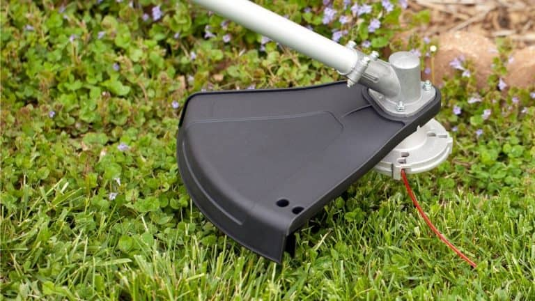 Closeup of String trimmer and line with grass and weeds in the background