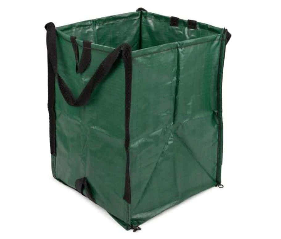dark green reusable lawn and leaf bag