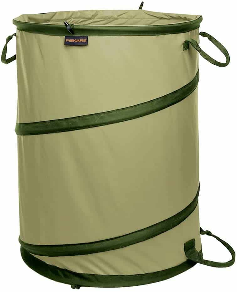 olive and dark green collapsible garden waste bag