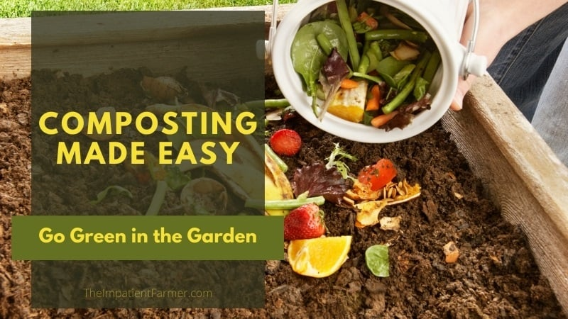 Adding vegetable scraps to the compost pile with title overlay - Composting Made Easy