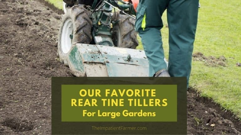 Our favorite rear tine tillers - image of man from the back tilling a large garden