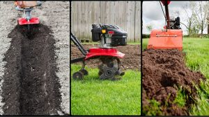 collage of three types of tillers - front tine, rear tine and vertical